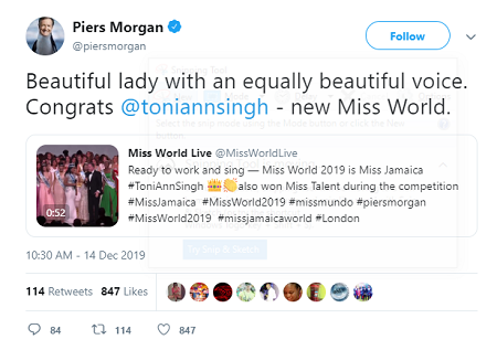 Piers Morgan congratulates Toni-Ann Singh for her Miss World win and her voice on Twitter