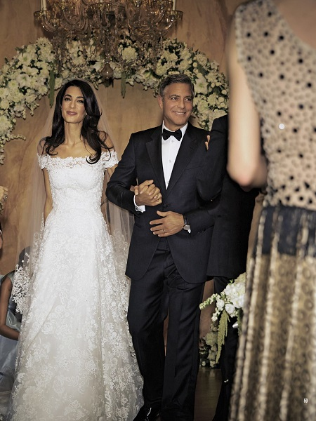 Amal Alamuddin and George Clooney on their wedding day