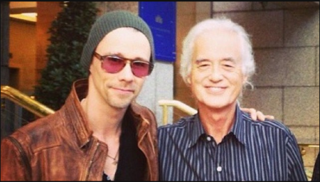 A photo of Myles Kennedy and Jimmy Page