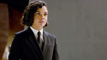 Tessa Thompson as the rookie Agent M in Men in Black: International