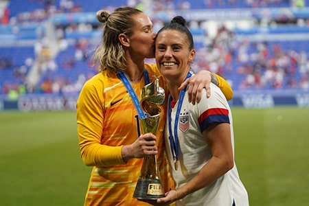 Ali Krieger and Ashlyn Harris after World Cup win in 2019