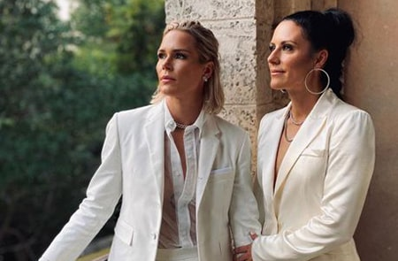 Ali Krieger and Ashlyn Harris before their wedding ceremony