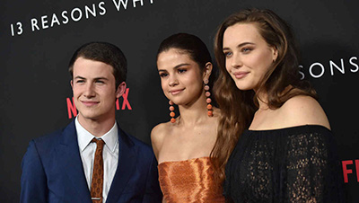 Katherine Langford, Selena Gomemiprez and Dylan Minnette at Premiere of '13 Reasons Why'