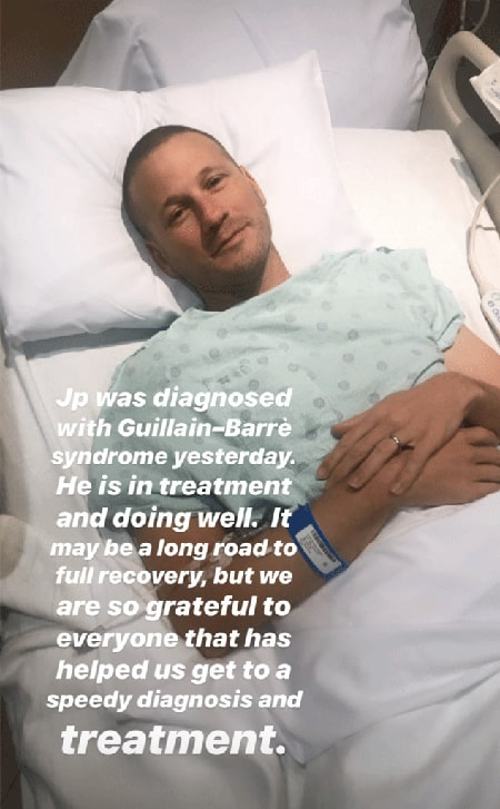 JP Rosenbaum in a hospital bed after he was diagnosed with Guillain-Barre syndrome