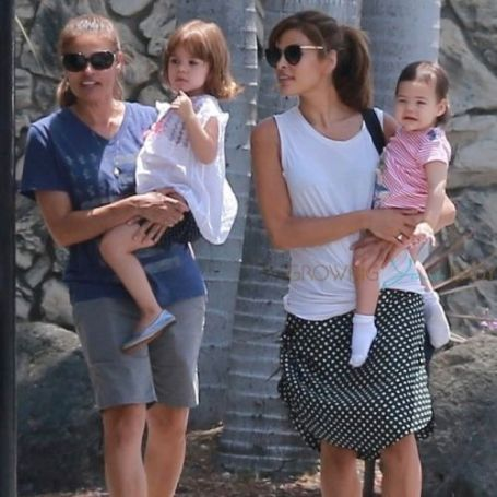 Eva Mendes with her children