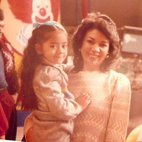 Aimee Garcia with her mother in her childhood