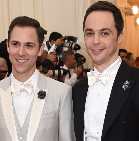 Jim Parsons with his partner Todd Spieak.