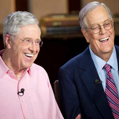 David H. Koch with his brother Charles Koch (left).