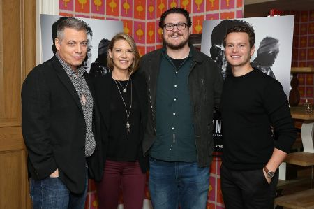 The stars of Mindhunter (From left to right): Holt McCallany as Bill Tench, Anna Torv as Dr. Wendy Carr, Cameron Britton as Ed Kemper, Jonathan Groff as Holden Ford