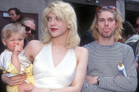 Courtney Love with Kurt Cobain and daughter Frances Bean Cobain