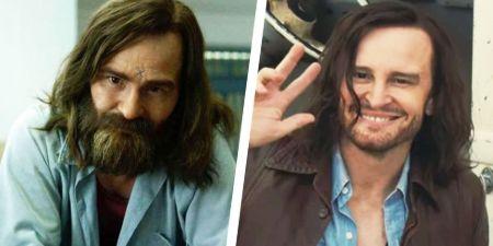 Damon Herriman plays Charles Manson in Mindhunter (left) and Once Upon a Time in Hollywood (right)