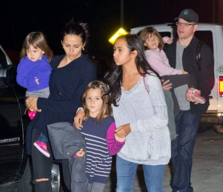 Matt Damon, wife Luciana and their 4 daughters