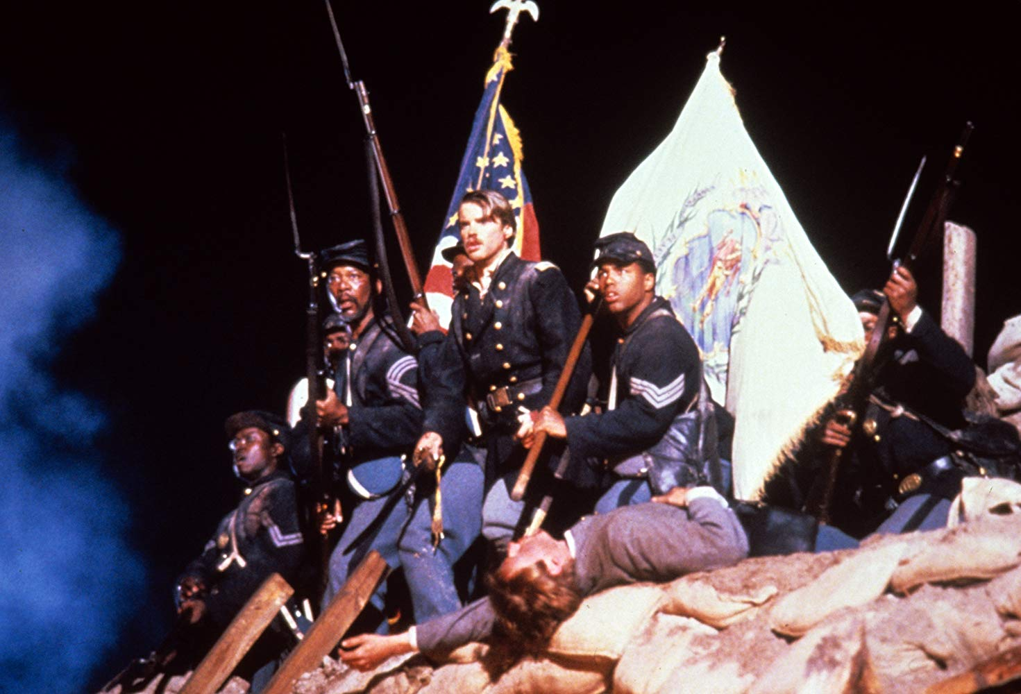 Andre Braugher with Cary Elwes, Morgan Freeman, and Mark A. Jones in Glory