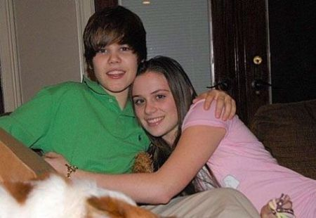 Justin with his first serious girlfriend, Caitlin Beadles