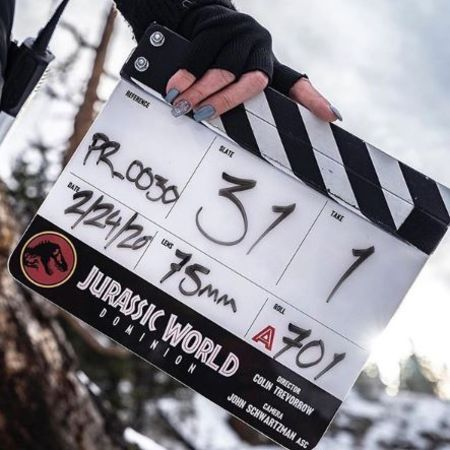 The picture of the clapperboard by Chris Pratt and Director Colin