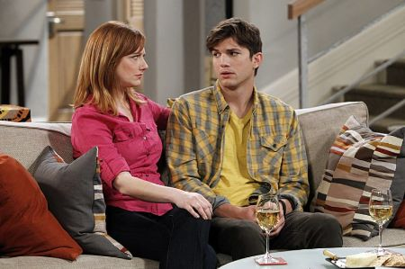 Judy Greer as Bridget opposite Ashton Kutcher in Two and a Half Men