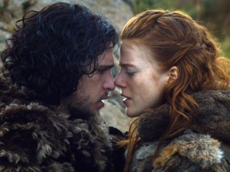 Rose Leslie and Kit Harington on Game of Thrones