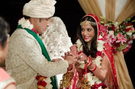 A picture from Aasif Mandvi and Shaifali Puri's wedding ceremony