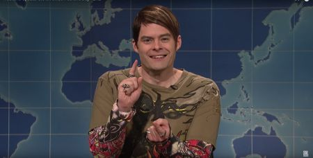 Bill Hader in the middle of an SNL sketch