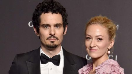 Damien Chazelle with wife, actress Olivia Hamilton