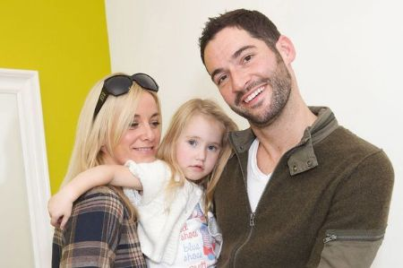 Tom Ellis with his ex-wife, Tamzin Outhwaite, and their daughter, Florence